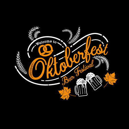 Oktoberfest hand drawn vector lettering and beer glass. Modern brush calligraphy. grunge background. Illustration