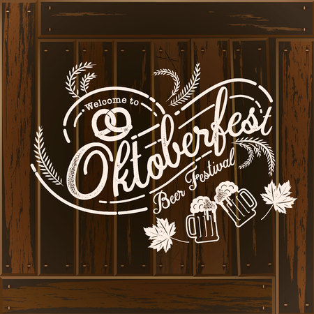 Oktoberfest hand drawn vector lettering and beer glass. Modern brush calligraphy. Wood background. Illustration