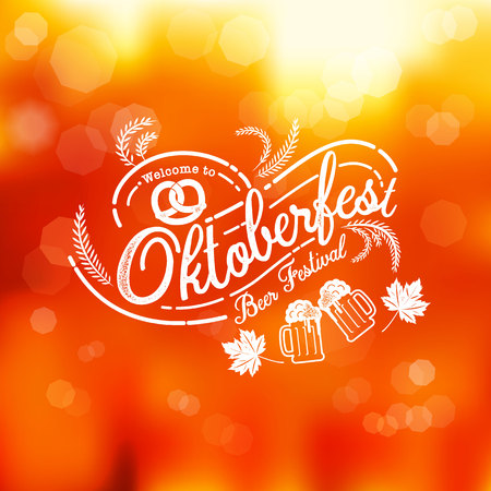 Oktoberfest hand drawn vector lettering and beer glass. Modern brush calligraphy. autumn background. Illustration
