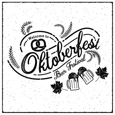 Oktoberfest hand drawn vector lettering and beer glass. Modern brush calligraphy. grunge background. Ilustrace