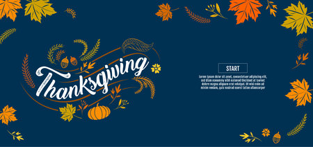 Happy thanksgiving, Typographic, calligraphy,illustration Type.