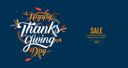 Hand drawn Happy Thanksgiving typography poster. Celebration text , icon or badge.calligraphy lettering