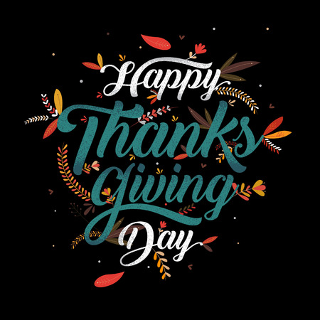Hand drawn Happy Thanksgiving typography poster. Celebration text , icon or badge. calligraphy lettering Ilustrace