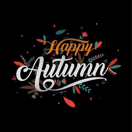 Autumn, Happy Thanksgiving typography , icon or badge. Calligraphy illustration.