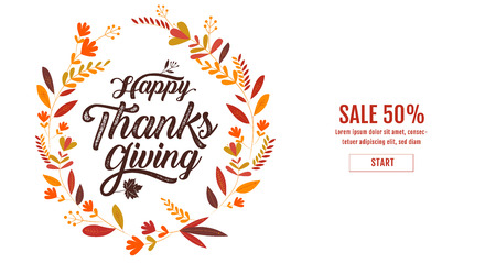Happy Thanksgiving typography poster. Celebration text , badge. illustration calligraphy ,Banner template sale. Ilustrace