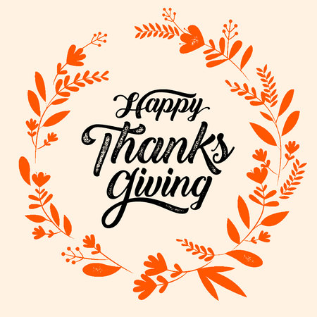 Happy Thanksgiving typography poster. Celebration text , badge. illustration calligraphy