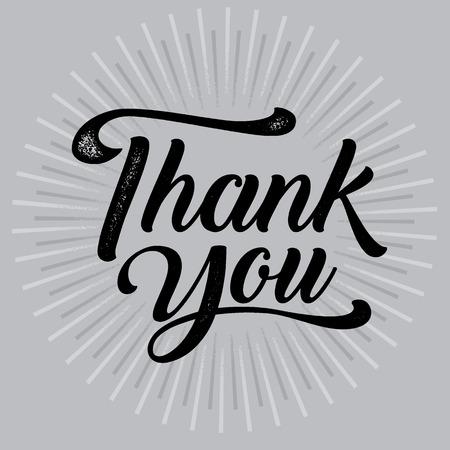 Thankyou typography poster. Celebration text , badge. illustration calligraphy Ilustração