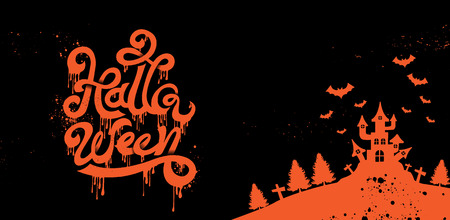 Happy Halloween Party , calligraphy, Logo , Scary ,spooky  template Vector illustration.