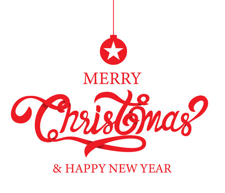 Merry Christmas, happy new year, calligraphy, sign & symbol, vector illustration.