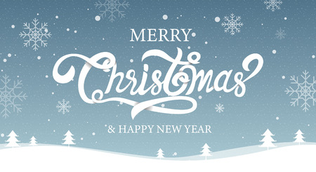 Merry Christmas, happy new year, calligraphy, sign & symbol, landscape vector illustration.