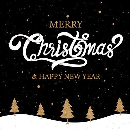 Merry Christmas, happy new year, calligraphy, Gold, sign & symbol, vector illustration.