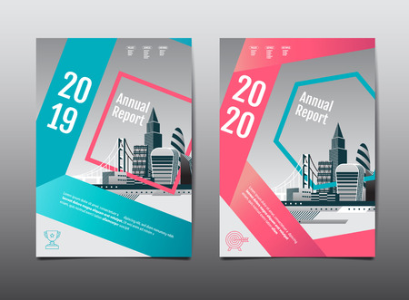 annual report 2019,2020 ,future, business, template layout design, cityscape, cover book. vector illustration, abstract flat background.