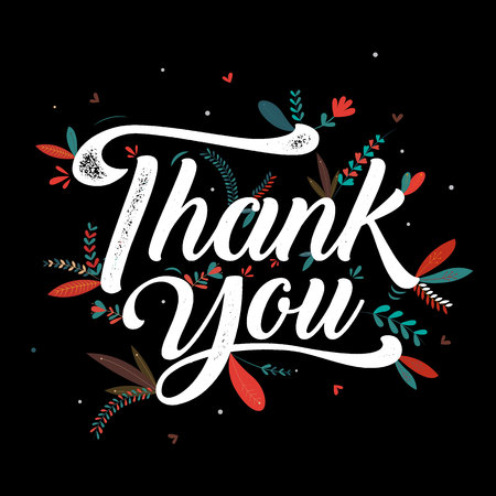 Thankyou typography poster. Celebration text , badge. Vector calligraphy Illustration