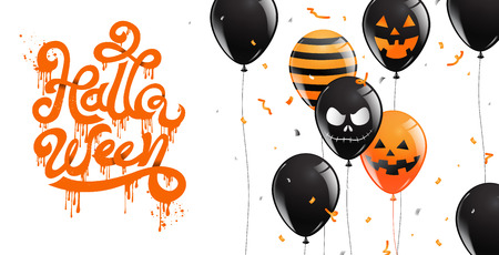 Happy Halloween Party , calligraphy, Banner ,Ghost , Scary ,spooky ,air balloons, template Vector illustration.