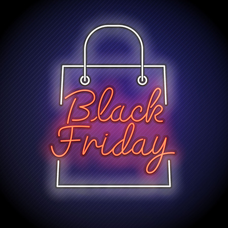 Black Friday vector , neon style, banner sale, discounts, vector illustration.