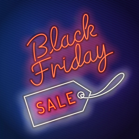 Black Friday vector , neon style, banner sale, discounts, vector illustration.
