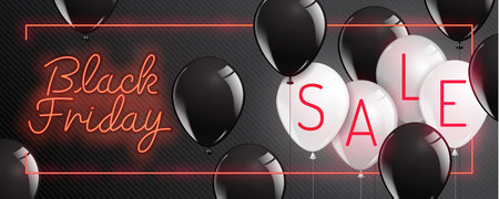 Black Friday vector , neon style,balloon, banner sale, discounts, vector illustration.