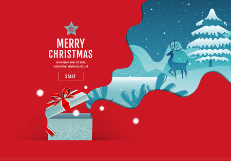 Merry Christmas, happy new year, calligraphy, landscape winter, vector illustration.