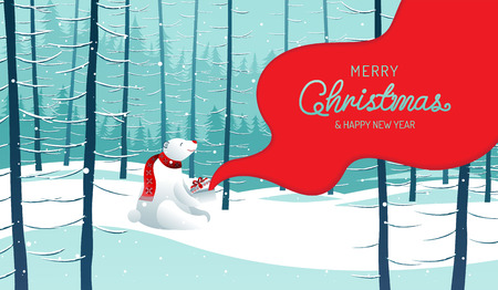 Merry Christmas, happy new year, Polar Bear,  landscape winter, vector illustration.