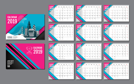 Calendar Template for 2019 Year. Vector Design Layout , Business Company.