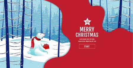 Merry Christmas, happy new year, Polar Bear,  landscape winter, vector illustration.