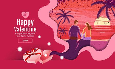 Beau couple, Saint Valentin, festival, fond de paysage, mise en page de conception de bannière, illustration vectorielle, style Art.