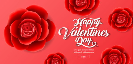 Valentines day , Red Roses Background, sale banner , hearts ,vector illustration.