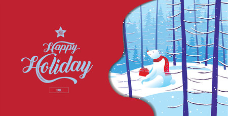 Happy Holiday, Merry Christmas, happy new year, Polar Bear, sale,  landscape winter, vector illustration.