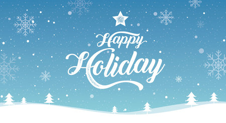 Happy Holiday, Merry Christmas, happy new year,  landscape winter, vector illustration. Illustration