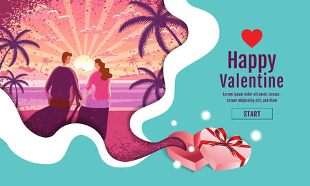 Lovely couple ,Valentines day ,festival, Landscape Background, Banner Design Layout, sun rise lanscape Vector illustration, Art style,