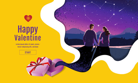 Lovely couple ,Valentines day ,festival, Landscape  night Background, Banner Design Layout, Vector illustration, Art style.