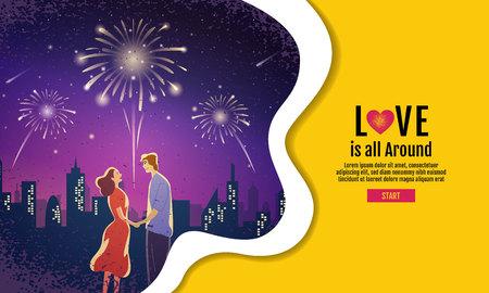 Lovely couple ,Valentines day ,festival, Landscape  night Background, Banner Design Layout, Vector illustration, Art style.