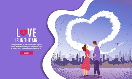 Couples hold hands in the garden. The sky is Heart-shaped, Valentins Day, Love, Vector Illustration. Illustration