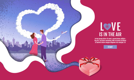 Couples hold hands in the garden. The sky is Heart-shaped, Valentins Day, Love, Vector Illustration. Ilustrace