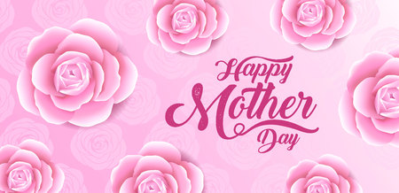 Happy mothers day lettering with  blossom pink flower.