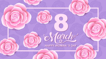Happy Women 's Day holiday , 8 March, girl head silhouette cutout ,flower backgrond.  banner , greeting card, poster, vector illustration. Çizim