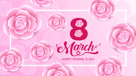 Happy Women s Day holiday , 8 March, girl head silhouette cutout ,flower backgrond.  banner , greeting card, poster, vector illustration.