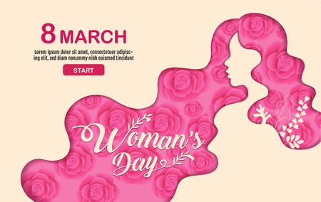 Happy Women 's Day holiday , 8 March, girl head silhouette cutout ,flower backgrond.  banner , greeting card, poster, vector illustration. Standard-Bild - 113771847