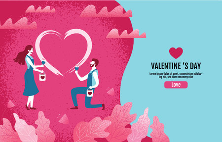Lovers together paint a heart shape.Valentine s Day, Love, Vector Illustration. Ilustração