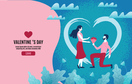 Lovers holding flowers In an atmosphere of love, Valentine s Day, Love, Vector Illustration.