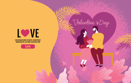 Lovers holding flowers In an atmosphere of love, Valentine 's Day, Love, Vector Illustration. Reklamní fotografie - 117022324
