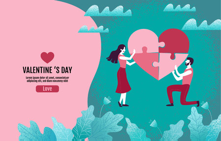 Couples together create heart-shaped puzzles, Valentine s Day, Love, Vector Illustration.