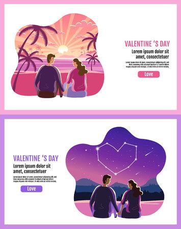 Lovely couple ,Valentines day ,star ,sky, sun rise Landscape Background, Banner Design Layout, Vector illustration, Art style,