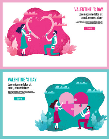 Lovers together paint a heart shape, Lovers holding flowers In an atmosphere of love, Valentine s Day, Love, layout design, Vector Illustration. Ilustração