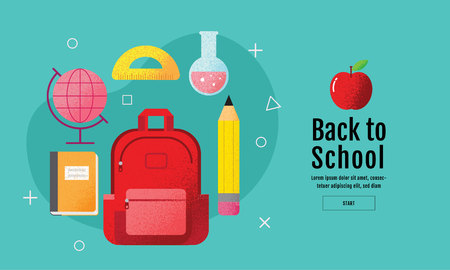 back to school sale banner, poster, flat design colorful, vector Reklamní fotografie - 117022330