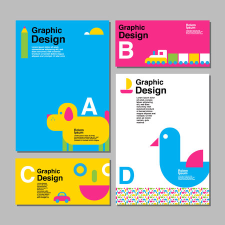 layout design template, cover book, colorful, cute, childen