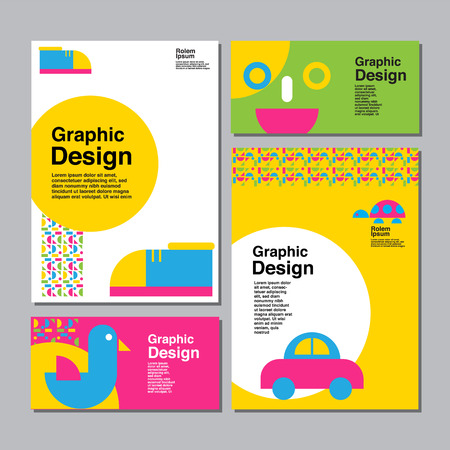layout design template, cover book, colorful, cute, childen, kid, vector flat design. Standard-Bild - 117022332