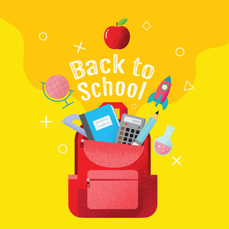 back to school sale banner, poster, flat design colorful, vector Reklamní fotografie - 120704921
