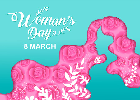 Happy Women 's Day holiday , 8 March, girl head silhouette cutout ,flower background.  banner , greeting card, poster, vector illustration. Standard-Bild - 120704923