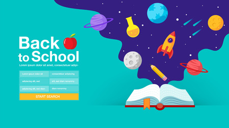 back to school , book, web banner, poster, flat design colorful, vector